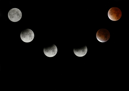phases: Six phases of a total lunar eclipse.