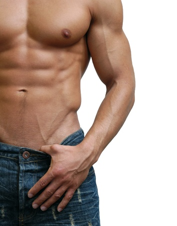 Muscular male torso isolated on white Stock Photo