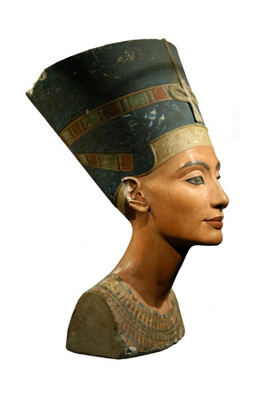 Famous bust of Queen Nefertiti isolated on white