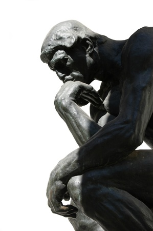 The Thinker, famous statue by Auguste Rodin, isolated on white Stock Photo