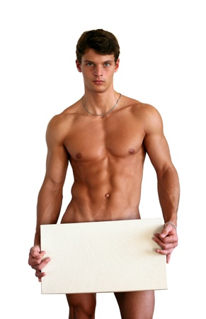 uomo nudo: Nudo uomo muscolare che copre con una casella bianca (copia spazio) isolato su bianco