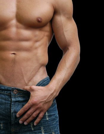 naked abs: Muscular male torso isolated on black
