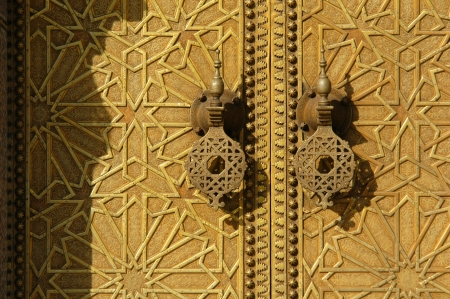 fes: Brass gate of the Royal Palace in Fes, Morocco