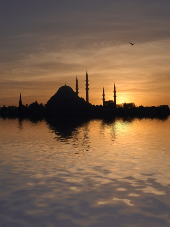 istanbul night: Sunset over the Suleymaniye mosque in Istanbul, Turkey, at sunset