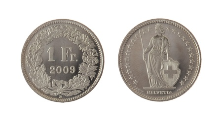 franc: One Swiss Franc coin isolated on white