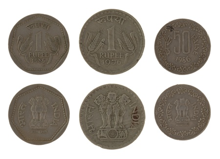 obverse: Indian rupee coins isolated on white