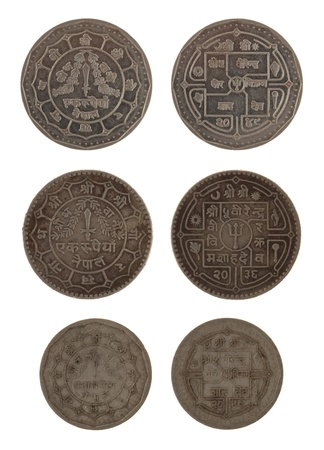 Nepalese rupee coins isolated on white Stock Photo - 15559718