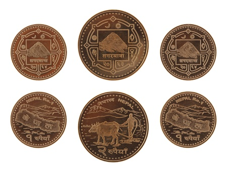 an obverse: New Nepalese rupee coins depicting Mont Everest and the map of Nepal. Obverse and reverse isolated on white.