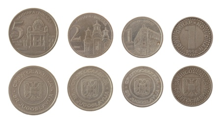 Old Yugoslav new dinar coins used from 1994 to 2002. Obverse and reverse isolated on white. photo