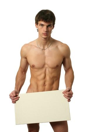 male nude: Nudo uomo muscolare che copre con un bordo bianco copia spazio isolato su bianco Archivio Fotografico