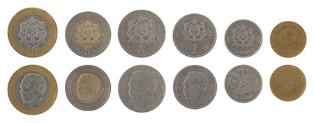 obverse: Moroccan dirham coins depicting King Mohammed VI of Morocco. Obverse and reverse isolated on white.