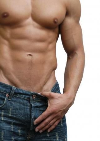 hombre desnudo: Torso masculino muscular aislado en blanco