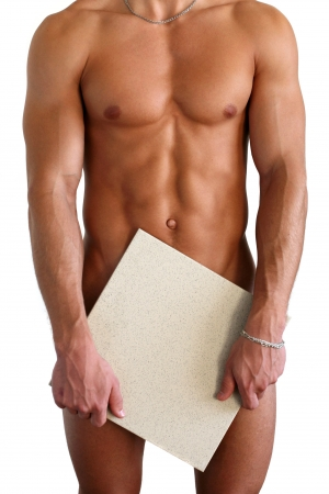 naked abs:  muscular torso covering with a copy space box isolated on white Stock Photo