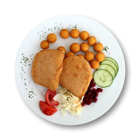 breading: Plate of breading fried cheese isolated on white. Traditional Czech meal