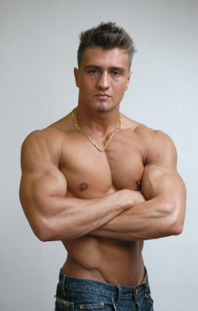 naked abs: Muscular male model