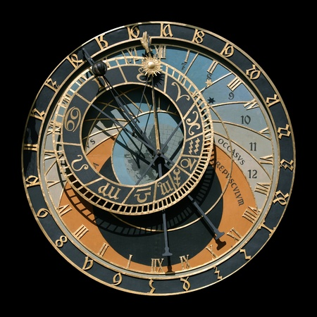 cronologia: reloj astronómico famoso en Praga, República Checa Editorial