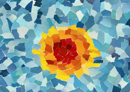 Orange sun in blue sky made from many pieces of torn paper photo