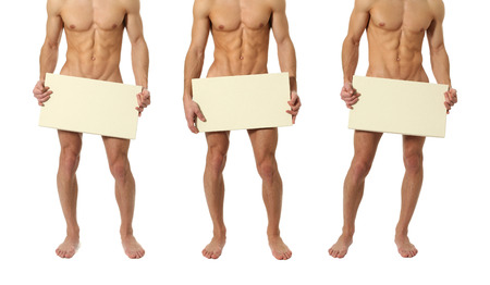 Three muscular men covering with a copy space blank sign isolated on white Stock Photo