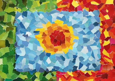 Orange sun in blue sky made from many pieces of torn paper on green and red background photo