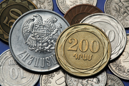 dram: Coins of Armenia. Armenian two hundred dram coin and Armenian national coat of arms depicted in Armenian dram coins. Stock Photo