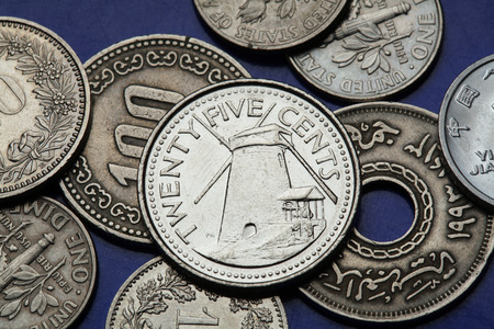 25 cents: Coins of Barbados. Windmill depicted in a Barbadian twenty five cents coin. Stock Photo