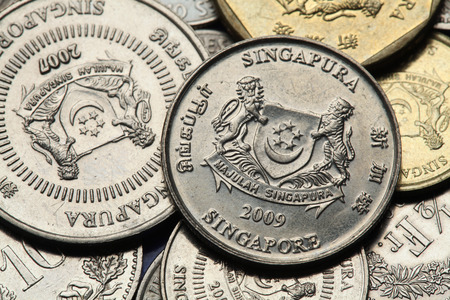 Coins of Singapore. National coat of arms of Singapore depicted in Singapore cent coins. photo