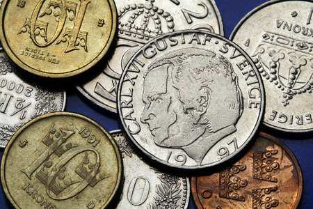 king carl xvi gustaf: Coins of Sweden. King Carl XVI Gustaf of Sweden depicted in Swedish krona coins. Stock Photo