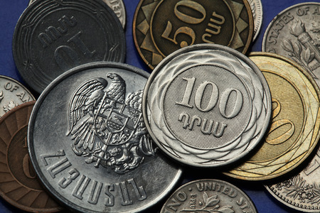 dram: Coins of Armenia. Armenian one hundred dram coin and Armenian national coat of arms depicted in Armenian dram coins.