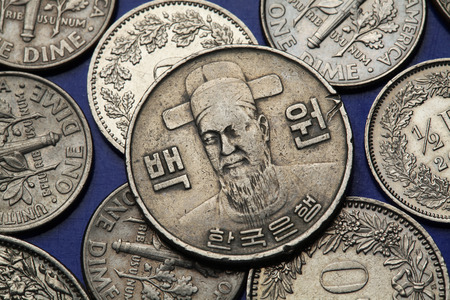 commander: Coins of South Korea. Korean naval commander Yi Sun-sin depicted in South Korean one hundred won coin.