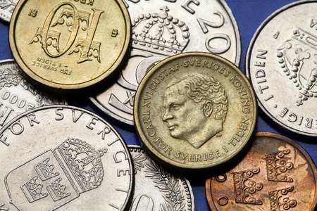 gustaf: Coins of Sweden. King Carl XVI Gustaf of Sweden depicted in Swedish krona coins. Stock Photo