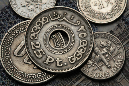 Coins of Egypt. Egyptian twenty five piaster (qirsh) coin. photo