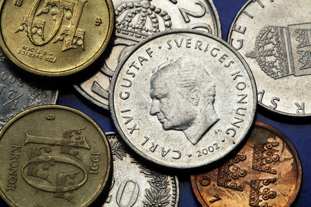 Coins of Sweden. King Carl XVI Gustaf of Sweden depicted in Swedish krona coins. Stock Photo