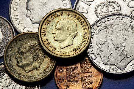 king carl xvi gustaf: Coins of Sweden. King Carl XVI Gustaf of Sweden depicted in Swedish krona coins. Stock Photo