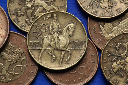 Coins of the Czech Republic. Monument to Saint Wenceslas in Wenceslas Square in Prague depicted in Czech twenty korunas coin. photo