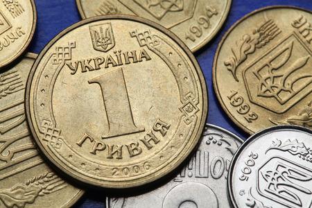 kopek: Coins of Ukraine. Ukrainian one hryvnia coin.