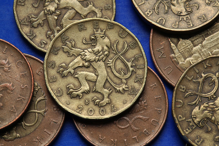Coins of the Czech Republic. Bohemian heraldic lion depicted in Czech twenty korunas coins.  photo