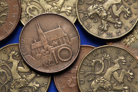 Coins of the Czech Republic. St Peter and Paul Cathedral in Brno, Czech Republic, depicted in Czech ten korunas coin.  photo