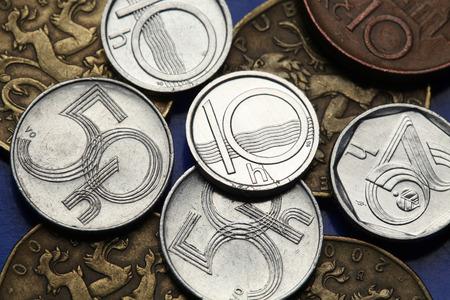 czech republic coin: Coins of the Czech Republic. Old Czech heller coins.  Stock Photo