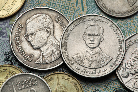 ix portrait: Coins of Thailand. King Bhumibol Adulyadej of Thailand depicted in the Thai baht coins.