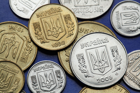 Coins of Ukraine. Ukrainian national coat of arms known as the Tryzub depicted in Ukrainian hryvnia coins.