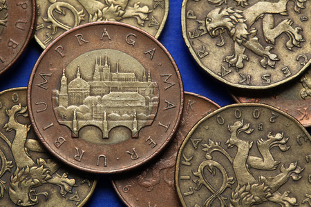 Coins of the Czech Republic. View of Prague with the Charles Bridge and Prague Castle depicted in Czech fifty korunas coin.  photo