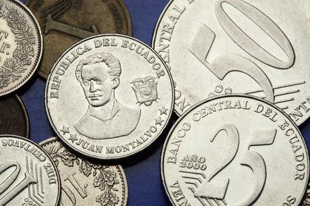 essayist: Coins of Ecuador. Ecuadorian author and essayist Juan Montalvo depicted in the Ecuadorian centavo coins.