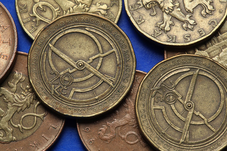 Coins of the Czech Republic. Medieval clocks depicted in Czech twenty korunas coins. Limited edition dedicated to the Millennium.  photo