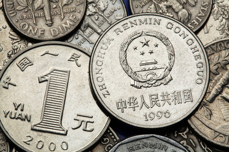 national  emblem: Coins of China. National emblem of China depicted in the Chinese one Yuan coin.  Stock Photo