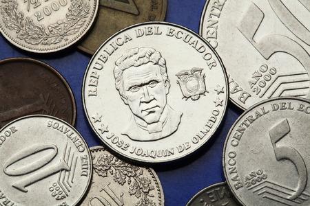 national poet: Coins of Ecuador. Ecuadorian national hero and poet Jose Joaquin de Olmedo depicted in the Ecuadorian centavo coins.