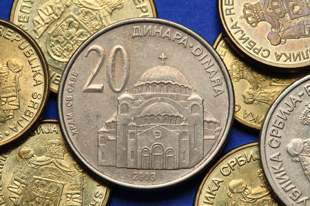 Coins of Serbia. The Church of Saint Sava in Belgrade, Serbia, depicted in Serbian twenty dinars coin.  photo