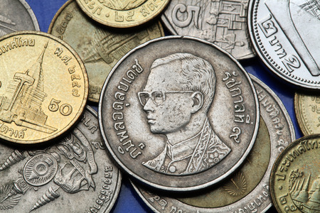 bhumibol: Coins of Thailand. King Bhumibol Adulyadej of Thailand depicted in the Thai baht coins.
