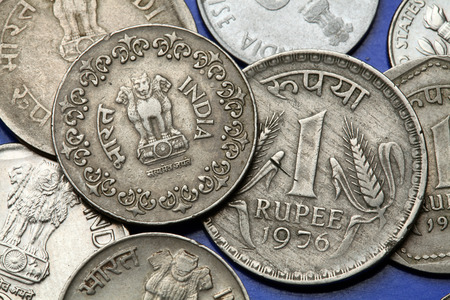 ashoka: Coins of India. The Sarnath Lion Capital of Ashoka served as the state emblem of India depicted in the Indian one rupee coin. Stock Photo