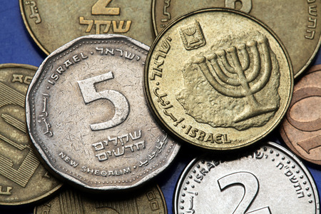 sheqalim: Coins of Israel. Menorah depicted in the Israeli ten agorot coin and the Israeli five agorot coin.