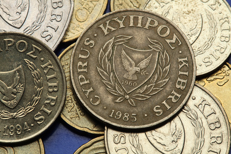 Coins of Cyprus. The coat of arms of the Republic of Cyprus depicted in the old Cypriot cent coins. photo